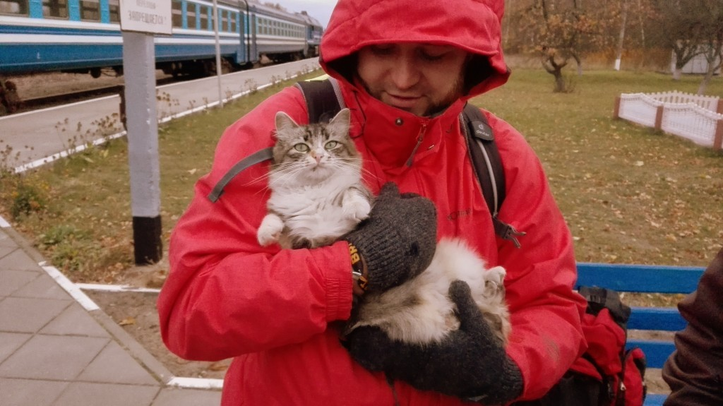 Кошка была немедленно спасена лаской и колбасой из Могилеве