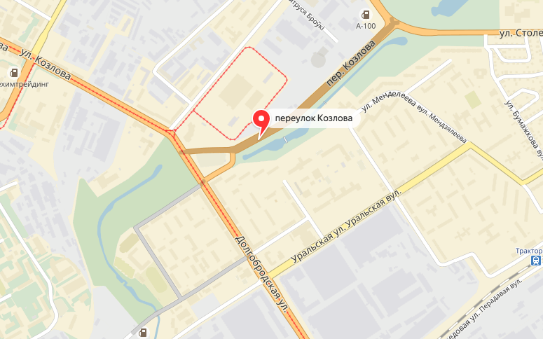 Переулок выделен серым цветом: в одной части он огибает квартал по периметру, в другой - после разрыва одноименной улицей - соединен со вторым кольцом